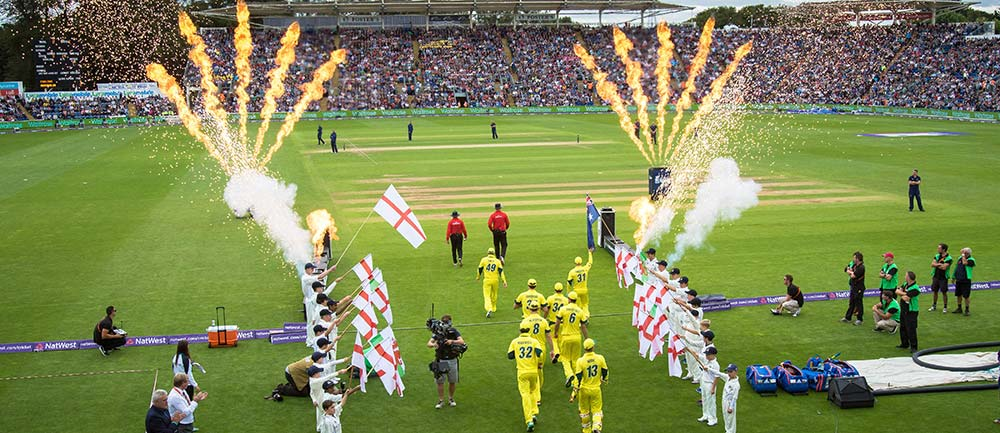 Cricket match and fireworks